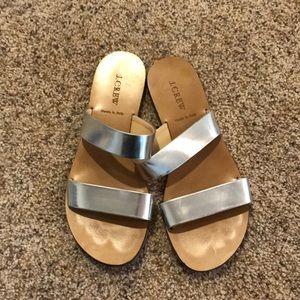 Jcrew Silver Slides, size 8, worn